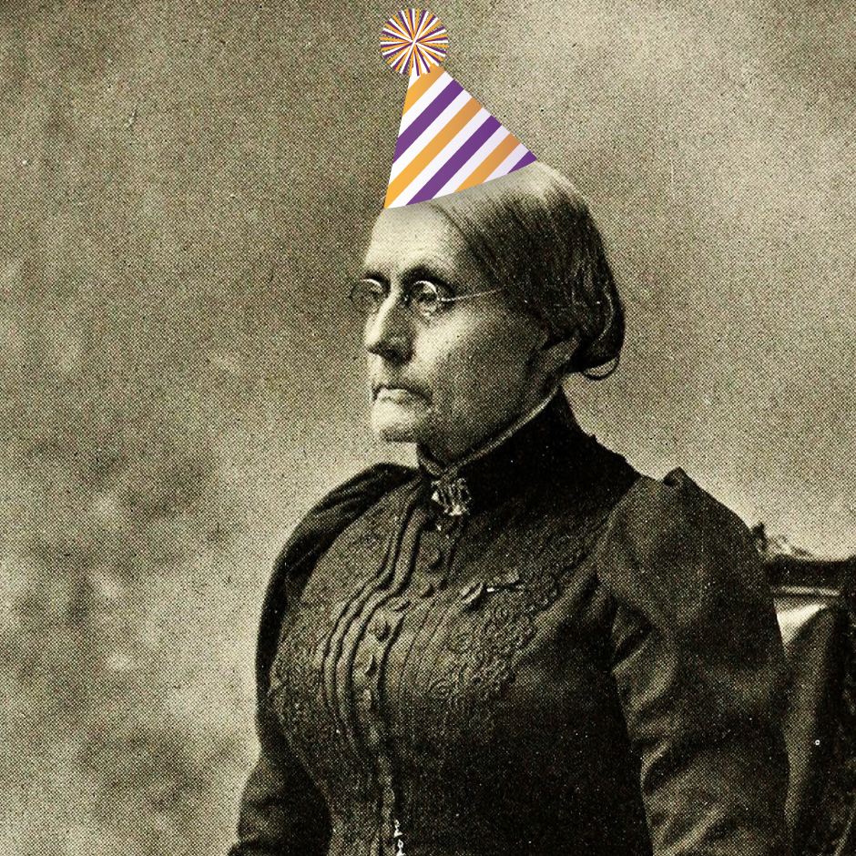Susan B. Anthony with birthday hat added