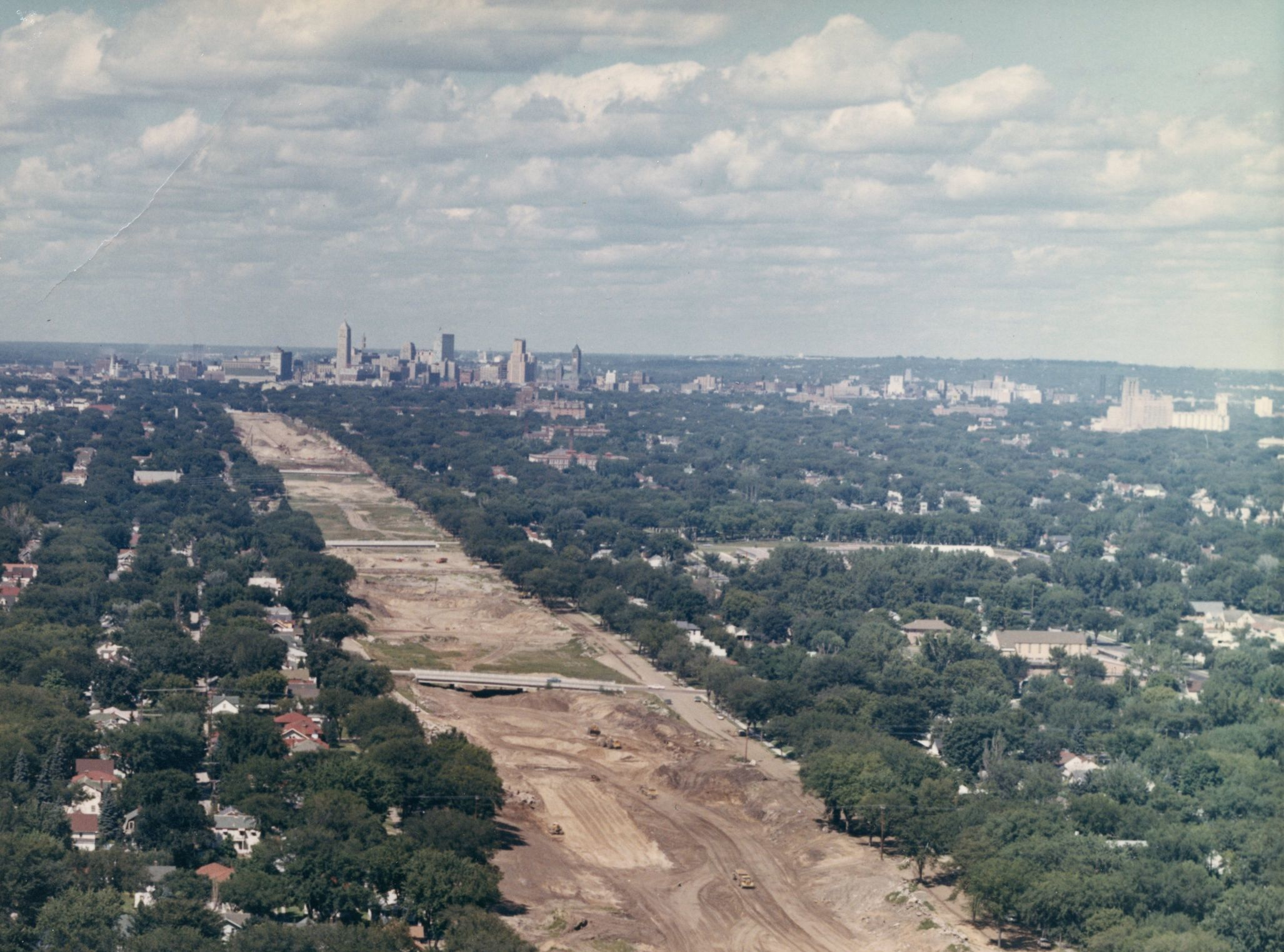 Initial construction of Interstate 35W, entering downtown through South Minneapolis