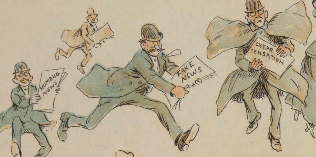Cartoon from Puck Magazine shows men running carrying newspapers