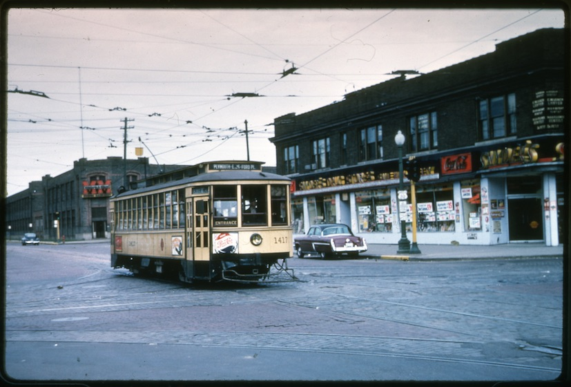 Streetcar on 27th Ave Minneapolis showing Snyders and Moline