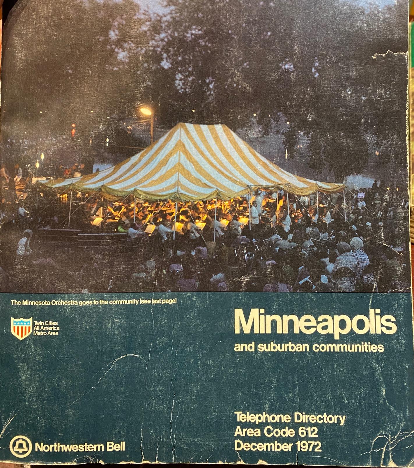 cover 1972 Minneapolis phone book.