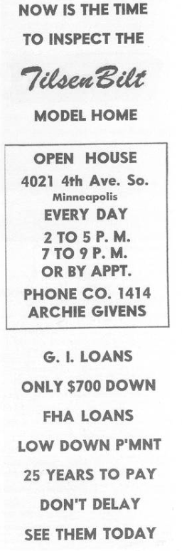 Tilsenbilt Homes advertisement in Minneapolis Spokesman