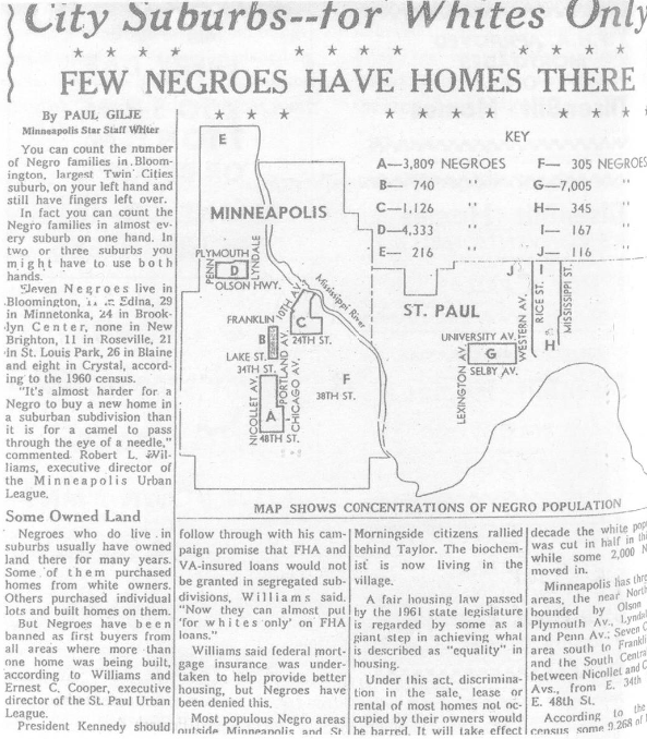 Clipping from Minneapolis Star December 1961 showing map of Black population in Twin Cities suburbs