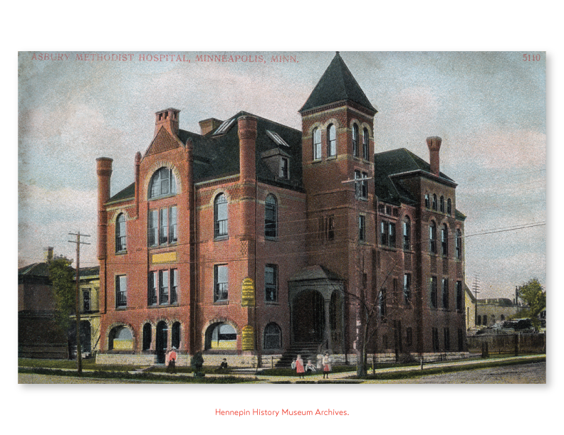 Postcard of Asbury Methodist Hospital.