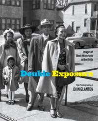 Double Exposure Book Cover: 3 women, 1 man, 1 girl standing in line