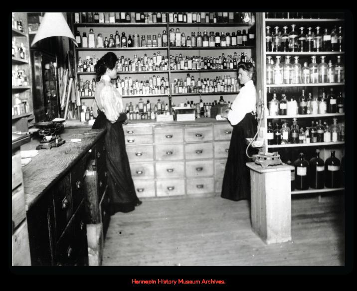Image of Josie Wanous Stuart in her drugstore.