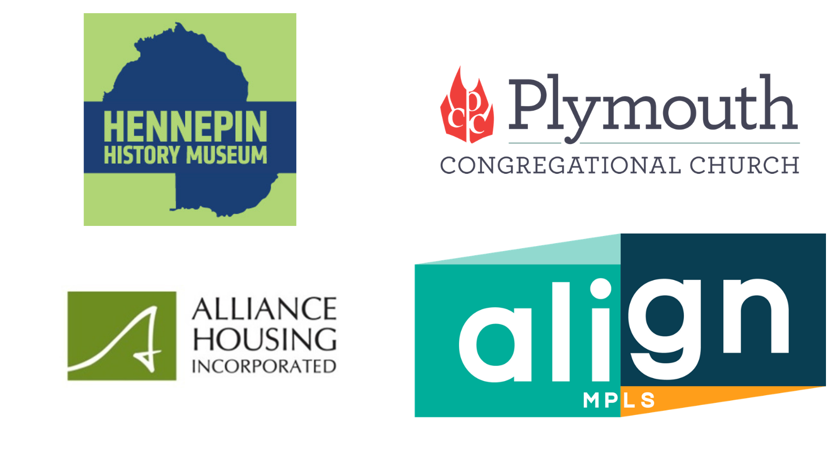 Logos for Alliance Housing, Plymouth Congregational Church, Align Mpls, and Hennepin History Musuem