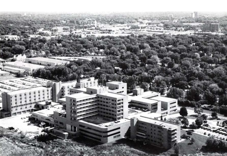 Aerial view of hospital