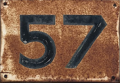 """Older sign with """"57"""" on it"""