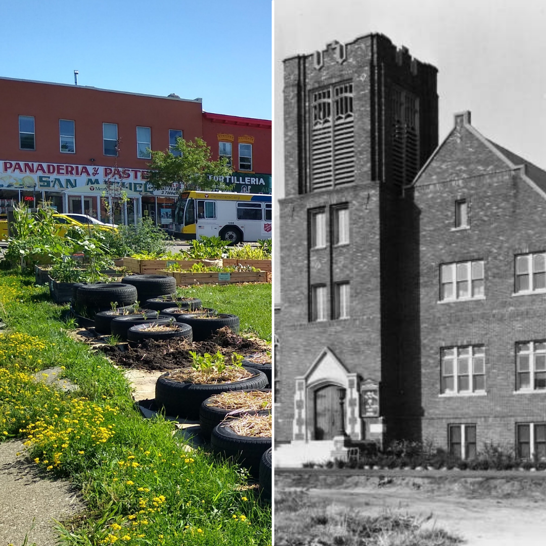 Community garden on Lake Street and historic image of Trinity English Lutheran Church