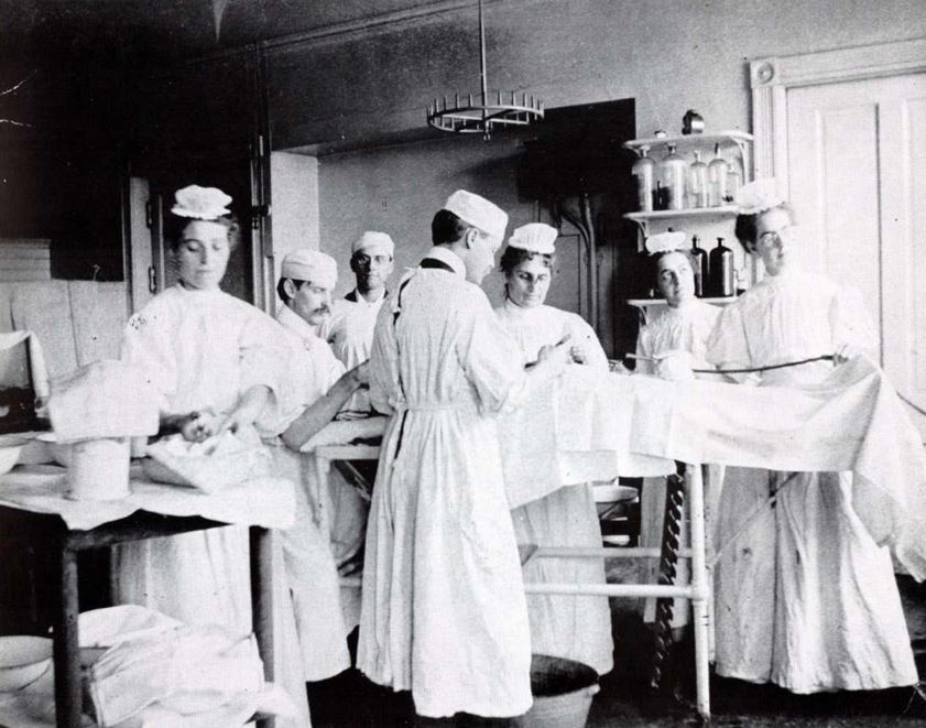 A group of doctors and nurses in the hospital