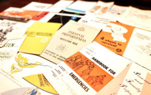 pamphlets heaped on table