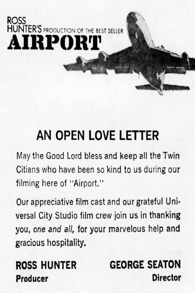 A thank you letter from the Airport filming crew