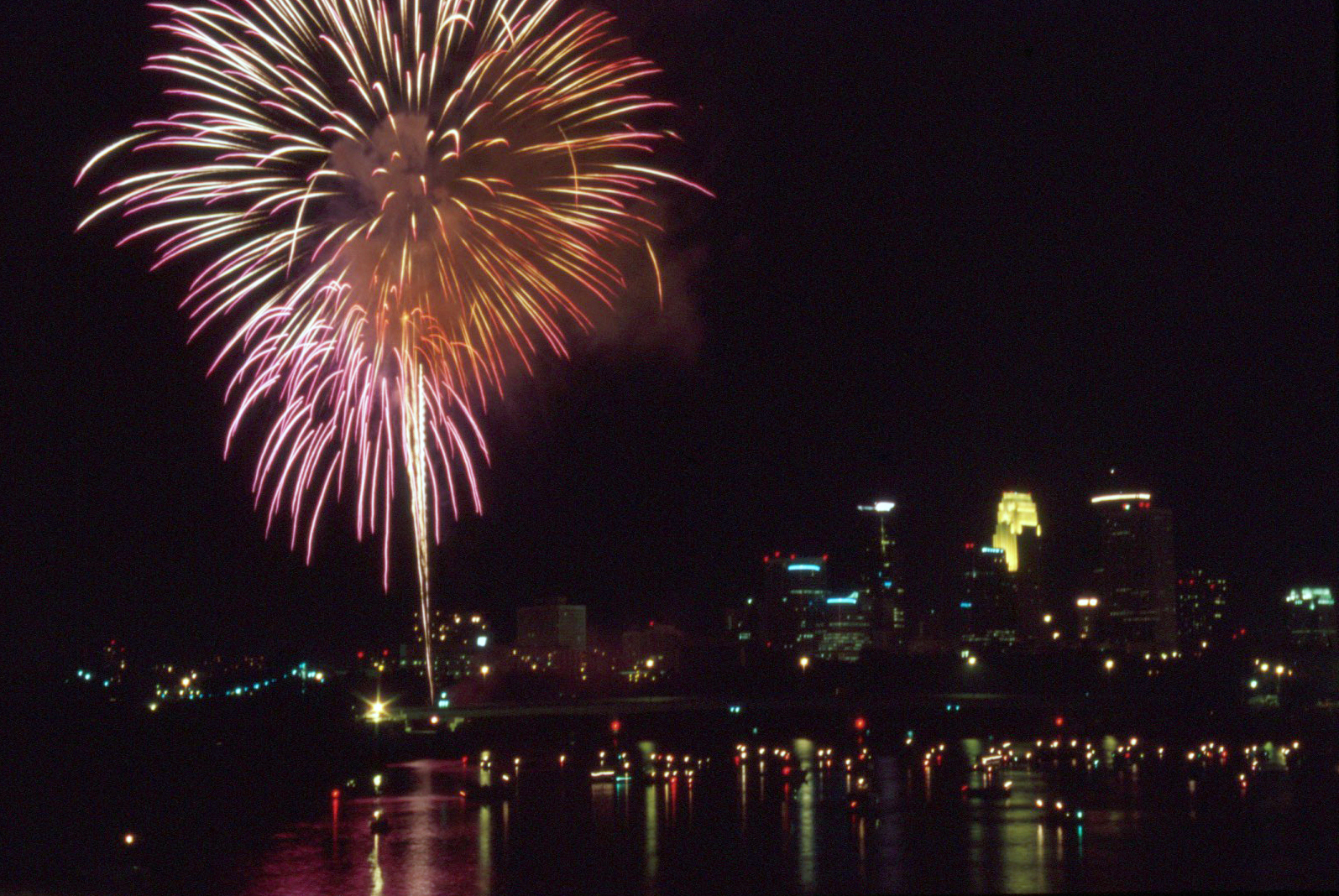 Image of fireworks over Minneapolis.